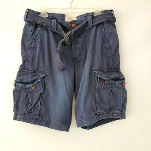 NWT Hollister Men's Cargo Shorts Navy belted 34